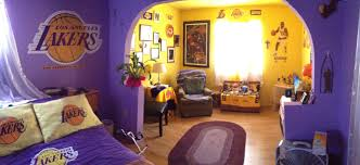 Incredible Los Angeles Lakers Fan Room Basketball Room Decor Basketball Theme Room Basketball Themed Bedroom