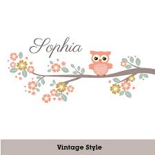 Girls Personalized Nursery Wall Decal Tree Branch Woodland Owl