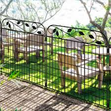 Amagabeli Metal Garden Fence Border 44 X 36 X 4 Pack Heavy Duty Tall Rustproof Decorative Garden Fencing Panels Animal Barrier Outdoor Iron Edge Fencing For Landscape Folding Flower Bed Fence Gate
