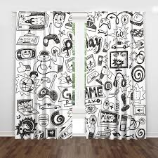 Game Room Boys Teen Sketch Black And White Cool Kids Window Curtains