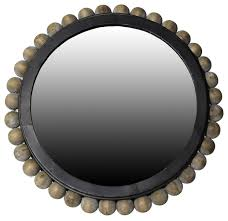 league mirror with wood bead frame