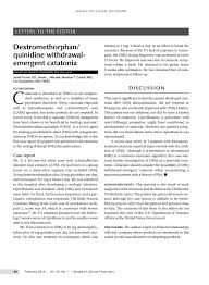PDF) Dextromothorphan/quinidine Withdrawal Catatonia: A Case Report