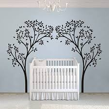Amazon Com Vinyl Nursery Tree Decal Tree Canopy Portal Wall Sticker Tree Wall Graphic Wall Mural Home Art Decor Black Home Kitchen