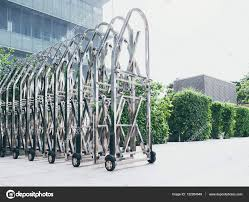 Steel Gate Technology Retractable Fence Building Parking Area Stock Photo C Viteethumb 132264048