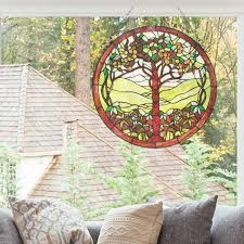 green tree of life stained glass window