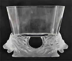 a lalique clear and frosted glass vase
