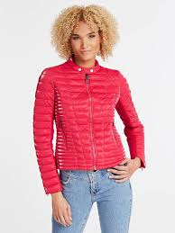 guess red padded faux leather jacket