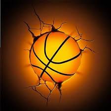 3d Basketball Deco Wall Led Night Light Crack Sticker Kids Sports Room Decor Ebay