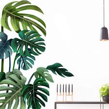 Amazon Com Tropical Green Plant Wall Decal Monstera Removable Diy For Living Room Green Leaf Wall Sticker For Nursery Room Door Back Kitchen Bedroom Art Home Decals Wall Decoration Green Leaf Right Side Arts