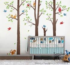 Kids Tree Wall Decals Forest Friends Birds Squirrels And Owl Smileywalls On Artfire