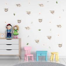 Cartoon Sloths Flash Wall Stickers Cute Animals Kids Wall Sticker Baby Nursery Children S Room Art Decal Wall Mural Decor Aliexpress