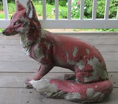 fox statue concrete yard art antique