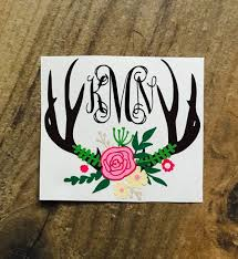 Floral Monogram Antlers Antler Flower Sticker Decal Girl Hunting Boho Monogram Bouquet Bohemian Decal Monogram Stickers Car Decal Hippie Monogram Decal