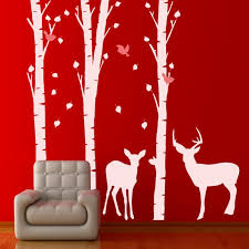 Wall Decal Set With Trees Birds Roe And Deer Cutzz