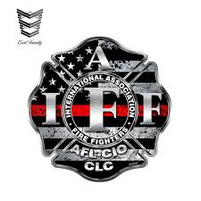 Earlfamily 12cm X 12cm Reflective Firefighter Iaff Thin Red Line Sticker Vinyl Decal Fire Personality Waterproof Accessories Car Stickers Aliexpress