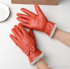 women lady real sheep leather gloves