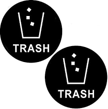 Amazon Com 2 Pack 6 X 6 Black Trash Decal Sticker For Trash Cans Back Self Adhesive Vinyl Office Products