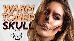 warm toned skull makeup