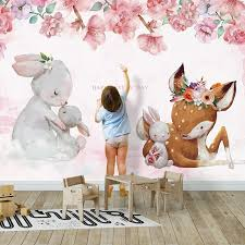 Hot Deal F45c Custom Living Room Children Room Animal Photo Wall Decoration Painting Cartoon Floral Elk Rabbit Mural Wallpaper For Kids Room Cicig Co