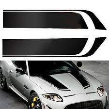 2pcs Car Racing Sports Stripes Hood Decal Auto Vinyl Bonnet Sticker Black Ebay