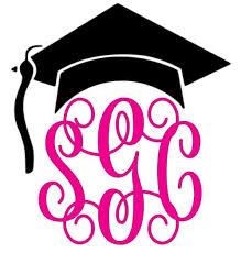 Graduation Cap Monogram Decal Southern Grace Creations