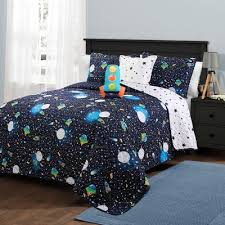 5pc Full Queen Universe Quilt Set With Spaceship Throw Pillow Navy Lush Dcor Target