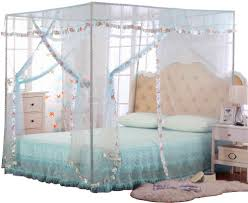 Amazon Com Jqwupup Mosquito Net For Bed 4 Corner Canopy For Beds Canopy Bed Curtains Bed Canopy For Girls Kids Toddlers Crib Bedroom Decor Full Size Light Blue Home Kitchen