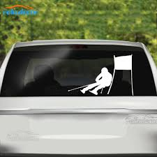 19 12cm Ski Car Decals Downhill Skiing Vinyl Rear Windshield Stickers Art Decals Car Decor Skier Snow Pattern White Black L798 Car Stickers Aliexpress