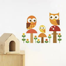 Owl Family Fabric Wall Decal Covered With Patterns Reproduced From Our Library Of Vintage Wallpaper The Fabric Wall Decals Family Wall Decals Family Decals