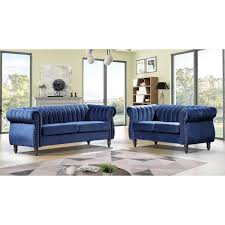 pride furniture louis dark blue velvet