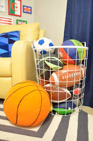 One Room Challenge Boys Sports Room Reveal House Updated Sports Room Boys Ball Storage Kids Sports Room