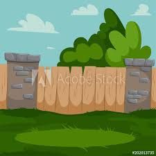 Backyard Vector Cartoon Illustration With Wooden Fence Brick Pillars And Green Grass Buy This Stock Vector And Explore Similar Vectors At Adobe Stock Adobe Stock