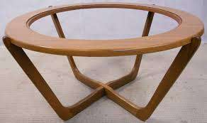 retro teak wood round coffee table