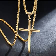 mens cross pendant chokers necklaces