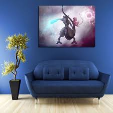 Pokemon Mewtwo Mew Wall Art Canvas Canvas Wall Art Mew And Mewtwo Canvas Art