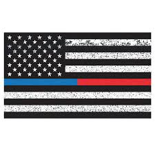 Amazon Com Thin Blue Line Thin Red Line American Flag Distorted Wall Decal Sticker 0457 Handmade