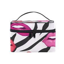 alarge makeup bag zebra print lips