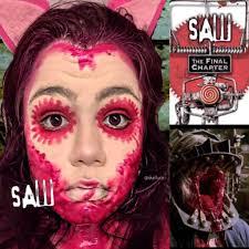 saw 7 pink blood makeup look horror amino