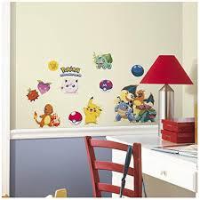 Amazon Com 24 New Iconic Pokemon Peel Stick Wall Decals Boys Room Stickers Pikachu Decor Home Kitchen