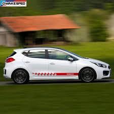 Both Side Racing Sport Stripes Vinyl Decal Car Body Door Skirst Sticker For Kia Ceed Sw Pro Gt 2010 2019 3 5 Doors Leather Bag