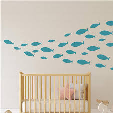 Amazon Com Ocean Fish Wall Decal Under The Sea Vinyl Wall Stickers For Kids Room Bedroom Bathroom Nursery Decor Teal Home Kitchen
