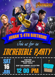 Avengers Infinity War Birthday Invitation Party Invite Superhero