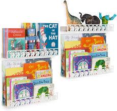Amazon Com Wallniture Animo Elephant Book Shelves For Kids Room And Nursery Wall Decor 17 Metal Picture Ledge White Wall Shelves Set Of 4 Furniture Decor