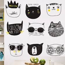 Nursery Literary Cat Decals Kids Room Vinyl Wall Stickers Animal Home Decor Removable Child Room Decorations Baby Crib Mural Thefuns On Artfire