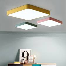 Ultra Thin Square Ceiling Lamp Simplicity Kids Room Colorful Acrylic Flush Mount Lighting Takeluckhome Com