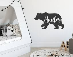 Bear Wall Decal Personalized Name Bear Silhouette With Custom Name Wal Surface Inspired Home Decor Wall Decals Wall Art Wooden Letters