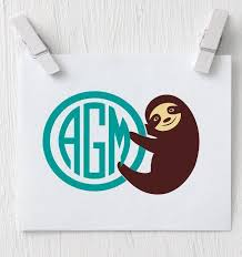Sloth Decal Sloth Monogram Decal