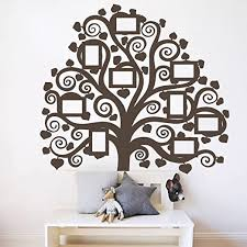 Amazon Com Giant Family Tree Picture Wall Decal Home Decor Vinyl Art Photo Mural Curly Branch Sticker Brown 60x54 Inches Home Kitchen