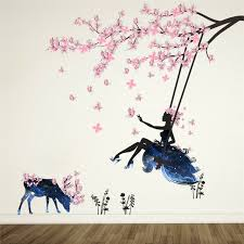 Pink Butterfly Wall Stickers Swing Girl Decals Tree Flowers Deer Wall Sticker For Sale Online