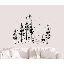 The Holiday Aisle Pine Trees Forest Deer And Snowflakes Vinyl Wall Decal Wayfair
